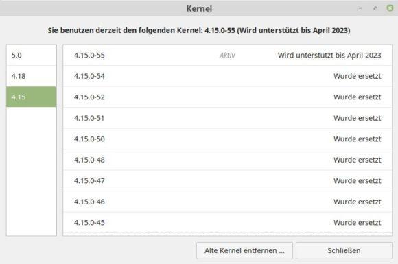 Linux Mint 19.2 - wie lange wird der Kernel unterstützt?