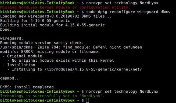 NordLynx meckert, dass ein Kernel-Modul fehlt und hat auch Recht