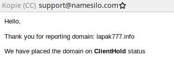 Domain wurde auf ClientHold gesetzt