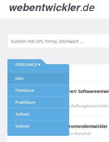 Bei webentwickler.de sind auch Freelancer gesucht