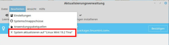 Upgrade auf Linux Mint 19.2 Tina