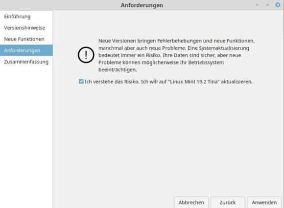 Anforderungen und Einverständnis für das Upgrade auf Linux Mint 19.2