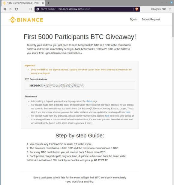 Dorthin sollst Du Deine Bitcoin überweisen