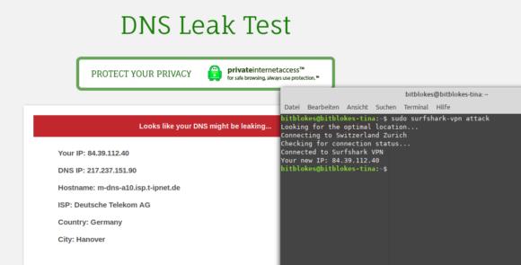 DNS-Leck beim Linux Client von Surfshark