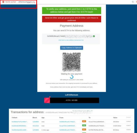 Ethereum Scam - nicht sicher