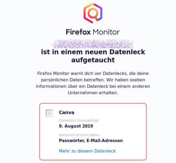 Firefox Monitor warnt, dass meine E-Mail-Adresse in einem Datenleck aufgetaucht ist