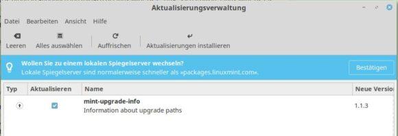 Die Information zum Upgrade-Pfad ist da