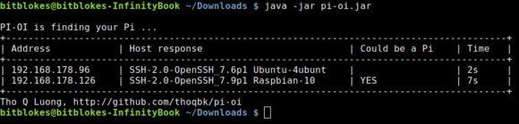 Den Raspberry Pi mit pi-oi im Netzwerk finden