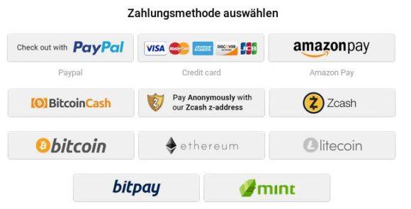 Auch Kryptowährungen wie Bitcoin, Ethereum und Litecoin möglich