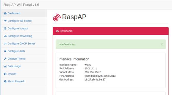 Dashboard von RaspAP