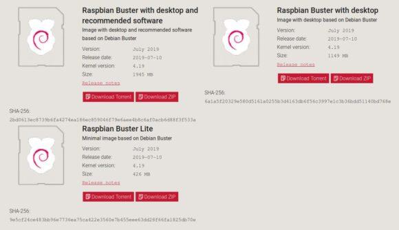 Raspbian Buster gibt es in drei Versionen