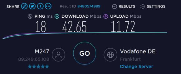 Speedtest ohne VPN-Verbindung