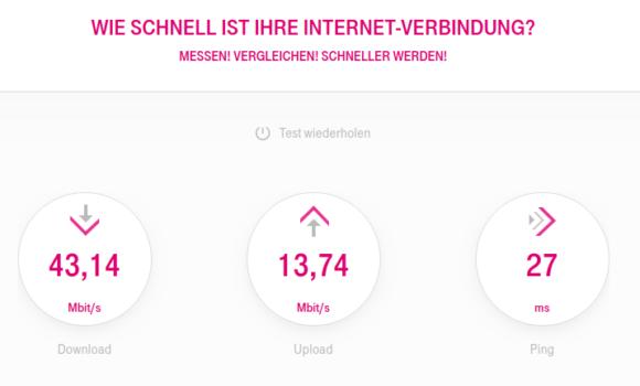 Geschwindigkeitsmessung von T-Online ohne VPN