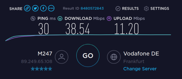 Speedtest mit WireGuard / NordLynx