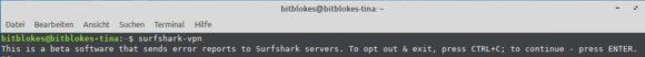 Surfshark Linux Client – kein Opt-Out für die Fehlerberichte