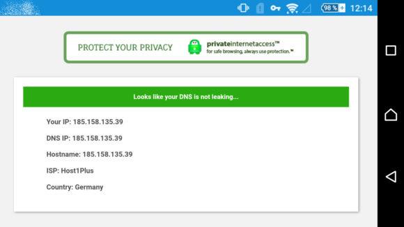 Unter Android gibt es bei Surfshark kein DNS-Leck
