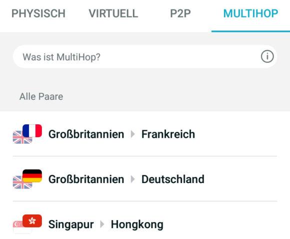 Multihop: Über mehrere Länder verbinden