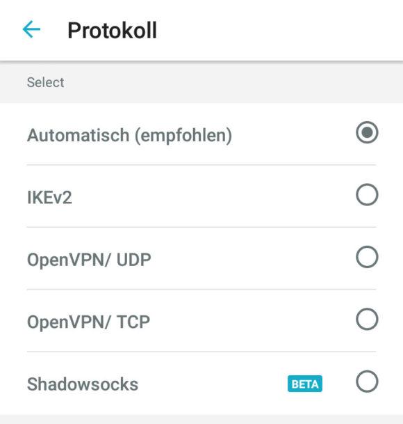 Surfshark stellt verschiedene Protokolle zur Auswahl: OpenVPN, IKEv2 und Shadowsocks