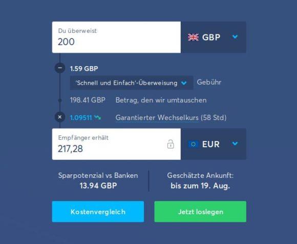 Transferwise mit viel besserem Wechselkurs