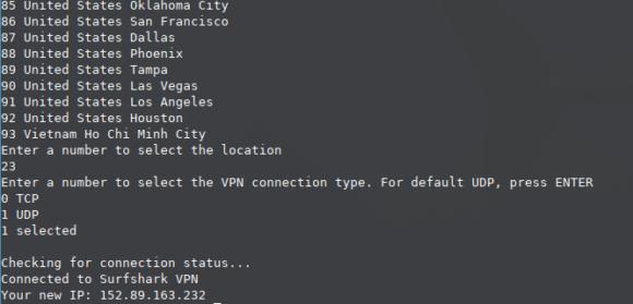 Mögliche VPN-Standorte und TCP oder UDP