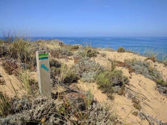 Hier etwas links halten ... Fisherman's Trail / Rota Vicentina
