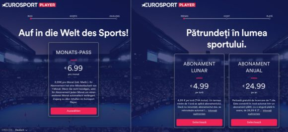 Eurosport: links via Deutschland, rechts über Rumänien – damit ist der Preis von NordVPN fast schon kompensiert