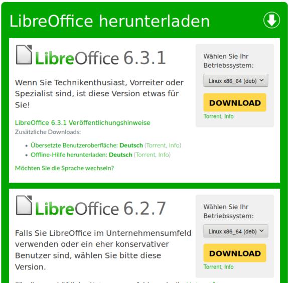 LibreOffice 6.3.1 und 6.2.7 sind verfügbar