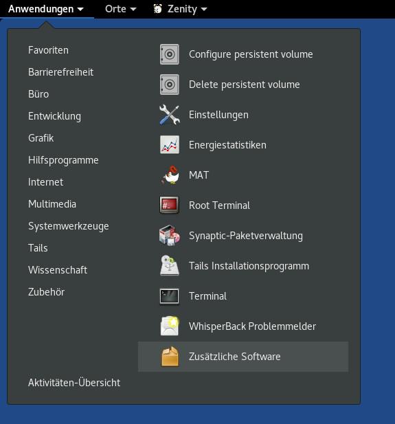 LibreOffice Math lässt sich bei Tails 3.16 über die zusätzliche Software installieren