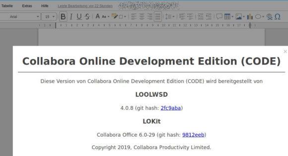 Eigentlich gleich zu Collabora Online 4.0.8