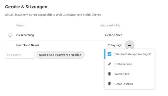 Nextcloud 17: Gerät löschen – Remote Wipe