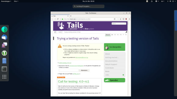 Tails 4.0 mit Debian Buster