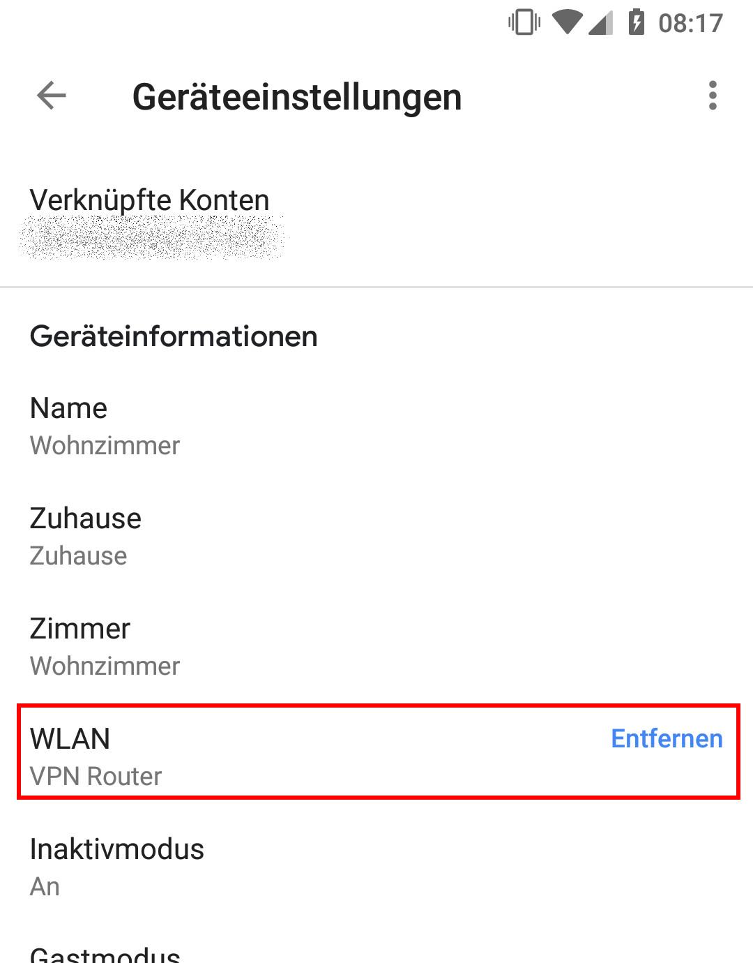 Chromecast mit VPN-Router verbunden