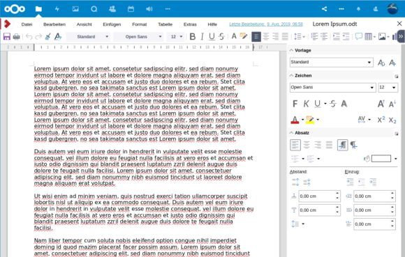 Ein Dokument unter Nextcloud 17 mit CODE geöffnet