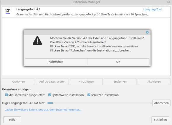 LanguageTool 4.8 unter LibreOffice installieren
