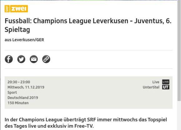 Leverkusen - Juventus am Mittwoch live und kostenlos im Free-TV gucken