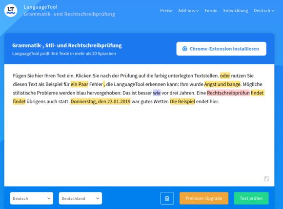 LanguageTool online nutzen