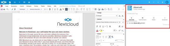 Nextcloud 18 – die Seitenleiste des Dateimanagers