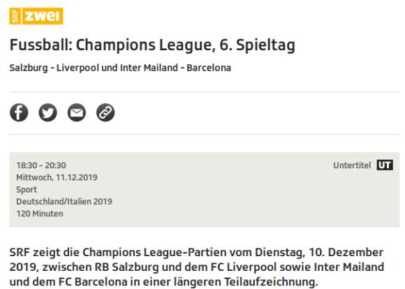 Salzburg - Liverpool und Inter - Barcelona