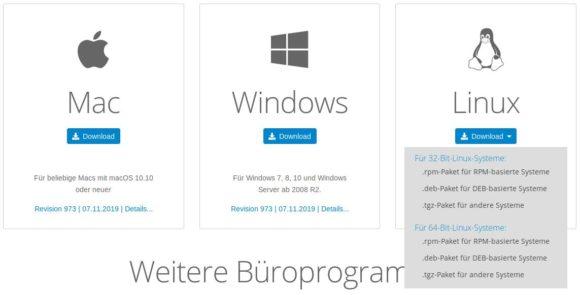 FreeOffice für Linux: 32- und 64-Bit