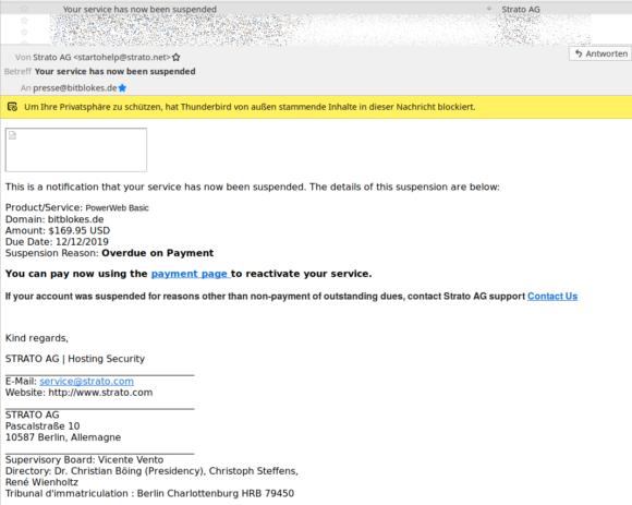 Strato hat angeblich meinen Service suspendiert – natürlich Blödsinn