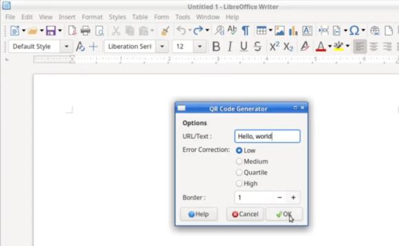 QR-Generator in LibreOffice 6.4