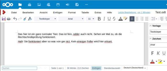 Rechtschreibprüfung in LibreOffice Online / CODE funktioniert