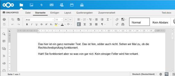 Rechtschreibprüfung in ONLYOFFICE funktioniert nicht – in Nextcloud Hub integriert