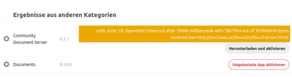 Curl-Fehler beim Versuch, den Community Document Server unter Nextcloud Hub zu installieren