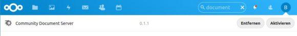 Commnity Document Server im Nextcloud Hub installiert