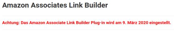 Amazon Associates Link Builder wird am 9. März 2020 eingestellt