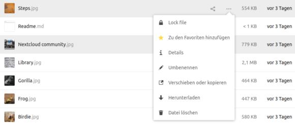 Nun ist die erste Option File Locking oder Dateisperre