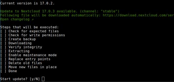 Ein Upgrade auf Nextcloud 17.0.3 ist da