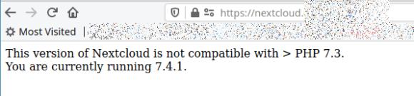 Nextcloud 17 mag nicht mit PHP 7.4