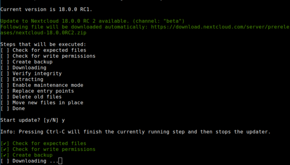 Nextcloud 18 RC2 via Kommandozeile installieren